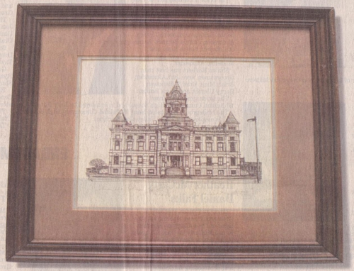 This rendering by K.P. Singh depicts the Johnson County Courthouse in downtown Franklin.