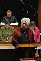 K.P. Singh delivers the invocation at the opening session of the 2010 Indiana General Assembly.