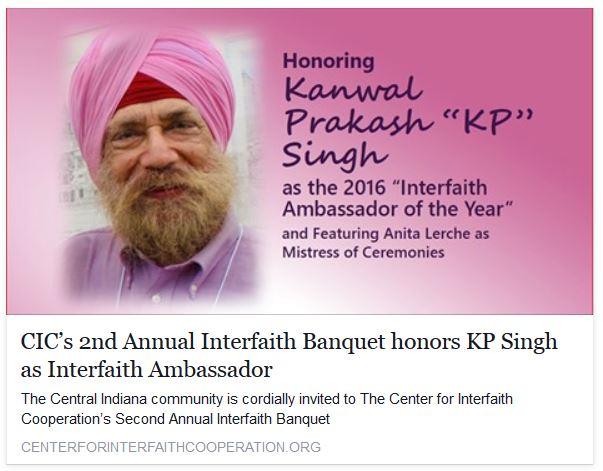 KP Singh Interfaith Ambassador of the Year Announcement